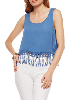 Crochet Fringe Tank Top - 1002054268225