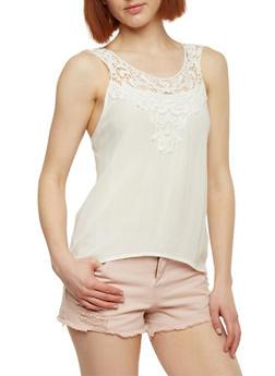 Gauze Knit Tank Top with Crochet Yoke - OFF WHITE - 1002054269235