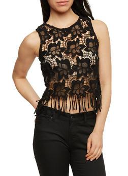 Floral Crochet Crop Top with Fringe Hem - 1002054269240