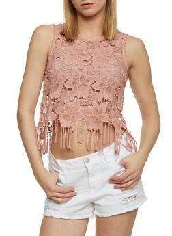 Floral Crochet Crop Top with Fringe Hem - 1002054269240