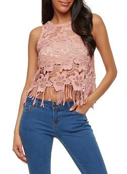 Sheer Crochet Fringe Top - 1002054269241