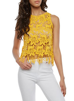 Sheer Crochet Fringe Top - 1002054269241