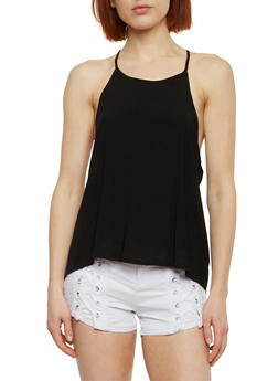 Halter Neck Top with Open Cross Back - 1002054269292