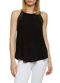 Halter Neck Crochet Detail Tank Top with Keyhole Back - 1002054269328