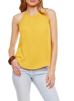 Gauze Knit Lace Trim Sleeveless Top - 1002054269329