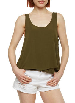 Double Layer Gauze Knit Tank Top - OLIVE - 1002054269390