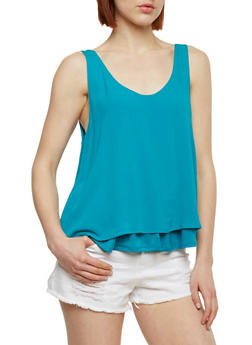 Double Layer Gauze Knit Tank Top - 1002054269390