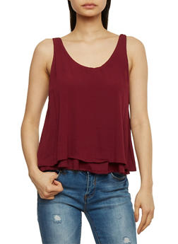 Double Layer Gauze Knit Tank Top - BURGUNDY - 1002054269390