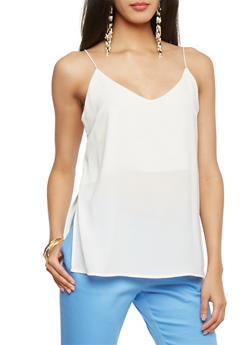 Crepe Cami Top - WHITE - 1002054269424