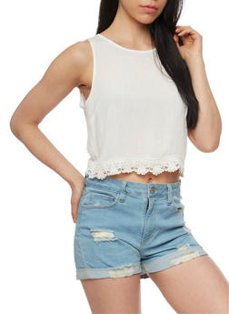 Solid Gauze Knit Crop Top with Crochet Trim - IVORY - 1002054269440