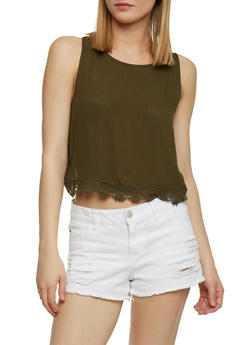 Solid Gauze Knit Crop Top with Crochet Trim - 1002054269440