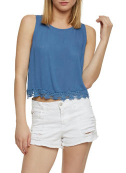 Solid Gauze Knit Crop Top with Crochet Trim - 1002054269440