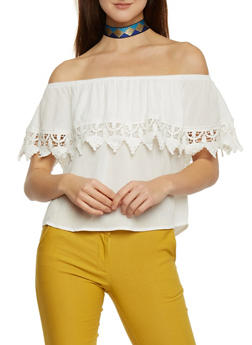 Off The Shoulder Ruffled Top with Crochet Accent - 1002054269444