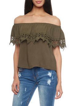 Off The Shoulder Ruffled Top with Crochet Accent - OLIVE - 1002054269444