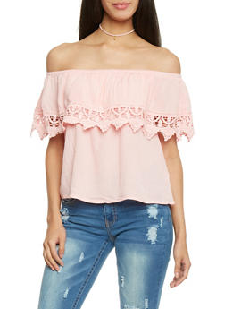 Off The Shoulder Ruffled Top with Crochet Accent - BLUSH - 1002054269444