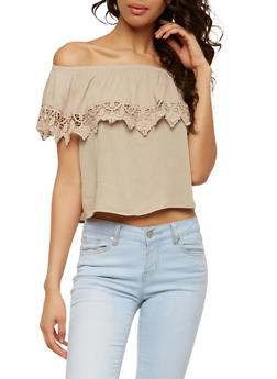 Crochet Trim Off the Shoulder Top - 1002054269445