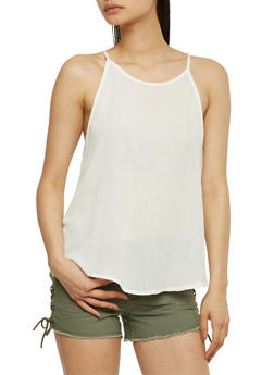 Spaghetti Strap Tank Top with Back Crochet Detail - IVORY - 1002054269472