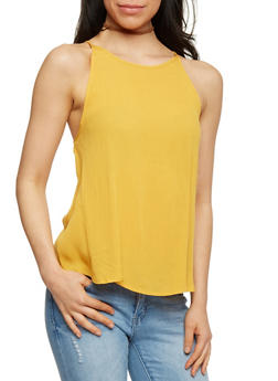 Spaghetti Strap Tank Top with Back Crochet Detail - 1002054269472