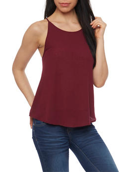 Spaghetti Strap Tank Top with Back Crochet Detail - BURGUNDY - 1002054269472