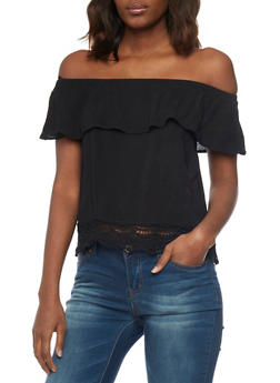 Off The Shoulder Ruffle Layer Top with Scallop Crochet Hem - 1002054269474