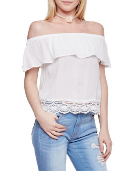 Off The Shoulder Ruffle Layer Top with Scallop Crochet Hem - OFF WHITE - 1002054269474