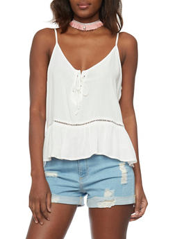 Lace Up Babydoll Cami with Crochet Insert - OFF WHITE - 1002054269512