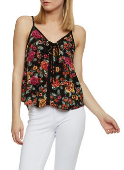 Lace Up Floral Print Tank Top - BLACK - 1002054269559