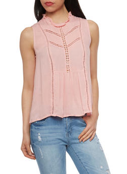Sleeveless Ruffled Mock Neck Top with Crochet Inserts - 1002058750132