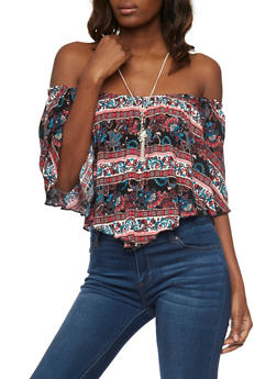Printed Off the Shoulder Hanky Hem Top with Necklace - 1002058750192