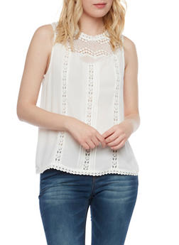 Crochet Neck Top with Keyhole Cutout - OFF WHITE - 1002058750409