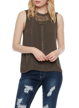 Crochet Neck Top with Keyhole Cutout - 1002058750409