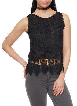 Sleeveless Crop Top with Crochet  Shell and Button Up Back - 1002058750772