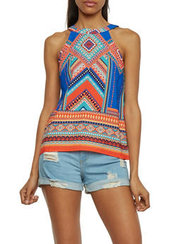 Sleeveless Crepe Knit Dashiki Print Top with Back Keyhole - 1002058750854