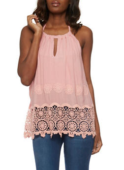 Embroidered Halter Top with Crochet Trim - 1002058750875