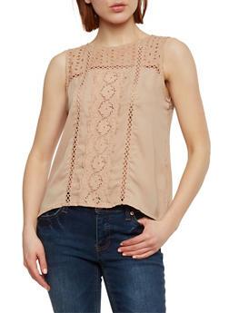Sleeveless Crochet Insert Top with Back Cutout - 1002058750902