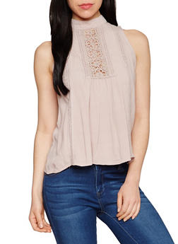 Sleeveless Mock Neck Top with Crochet Detail - 1002058750938