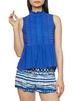 Sleeveless Crochet Mock Neck Peplum Top - RYL BLUE - 1002058751178