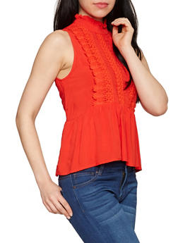 Sleeveless Crochet Mock Neck Peplum Top - RED - 1002058751178