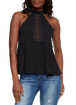 Sleeveless Halter Neck Top with Crochet Detail - 1002058751186