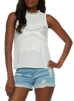 Sleeveless Crochet Detailed Top with Keyhole Back - 1002058751229