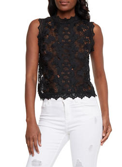 Sleeveless Lace Mock Neck Top - 1002058751236