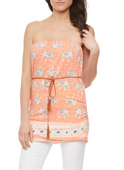 Elephant Print Tube Top with Removable Braided Belt - 1002058752242