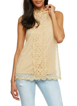Sleeveless Swiss Dot Lace Top - 1002058753522