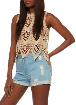 Sleeveless Crochet Crop Top - 1002058754350