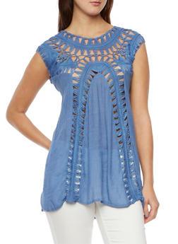 Sleeveless Tunic Top with Crochet Panels - 1002058755383