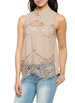 Mock Neck Tank Top with Crochet Paneling - 1002058755852