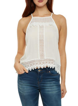 Tank Top with Crochet Paneling - OFF WHITE - 1002058756083