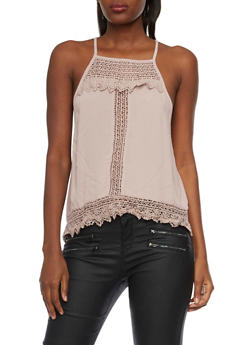 Tank Top with Crochet Paneling - 1002058756083