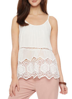 Tank Top with Crochet Cutout Details - OFF WHITE - 1002058756084