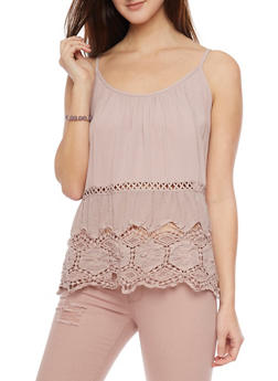 Tank Top with Crochet Cutout Details - 1002058756084